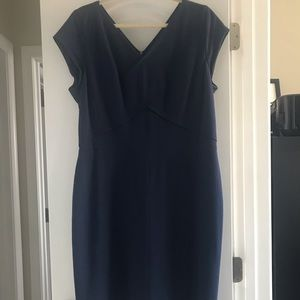 Navy v neck dress